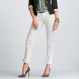 Cabi 'Stella' Distressed Straight Leg White Jeans